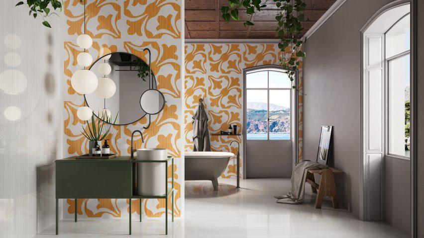 Arancio Forme in Riflessi tile collection by Ceramiche Refin