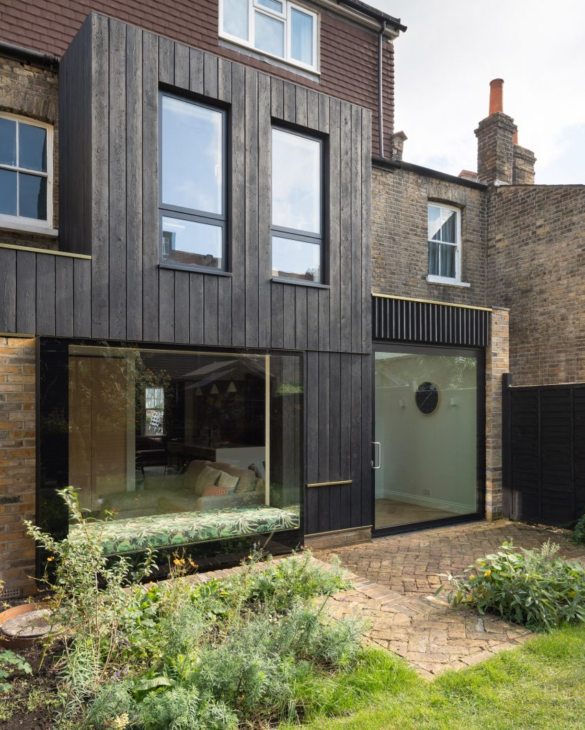 The exterior of the Charred House extension by Rider Stirland Architects in London