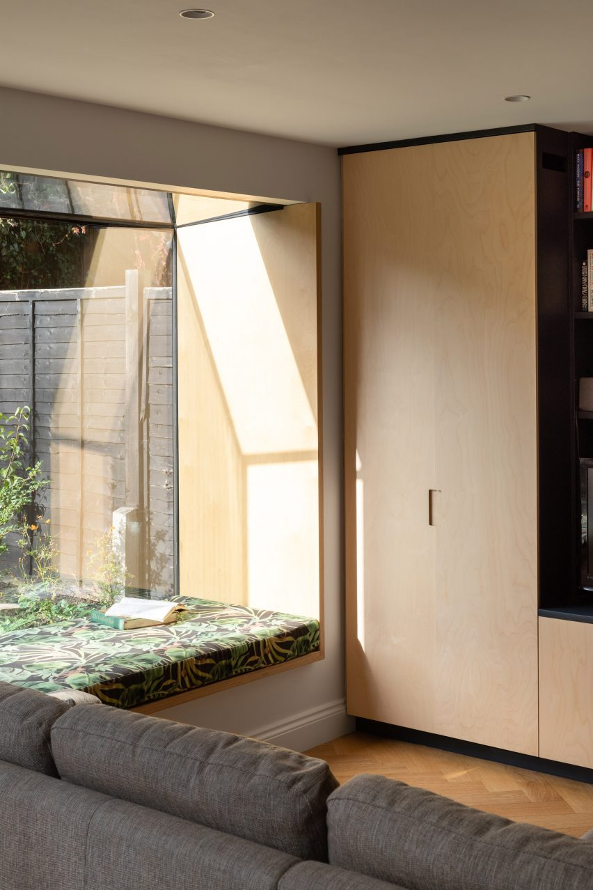 An oriel window inside Charred House by Rider Stirland Architects in London