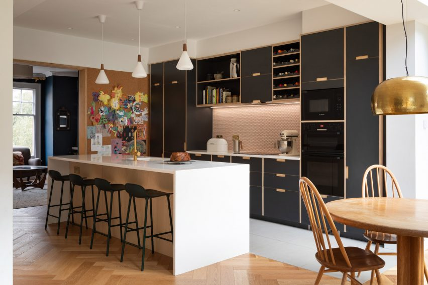 The Charred House kitchen by Rider Stirland Architects in London