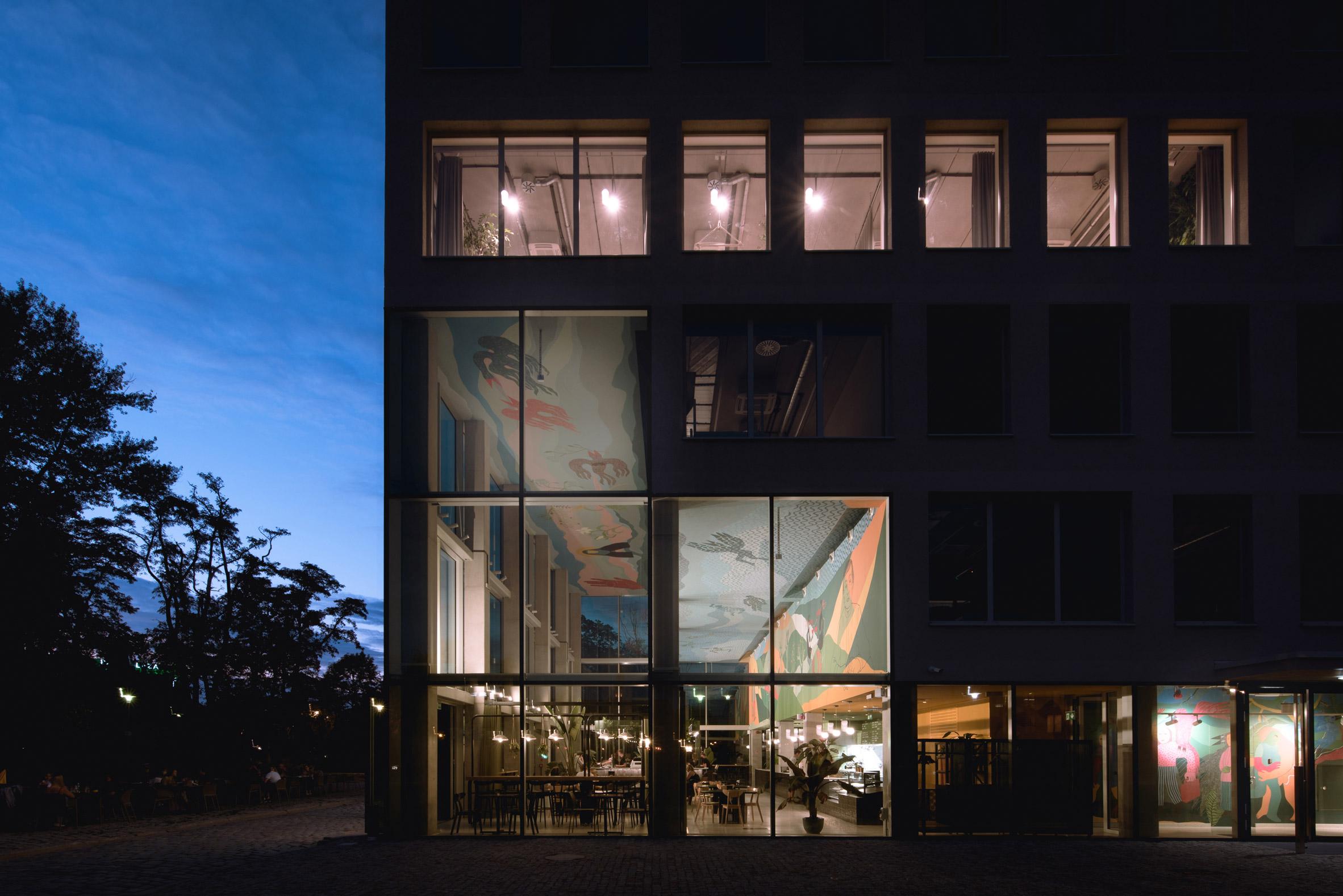 Concordia Design by MVRDV and Alicja Biala at night