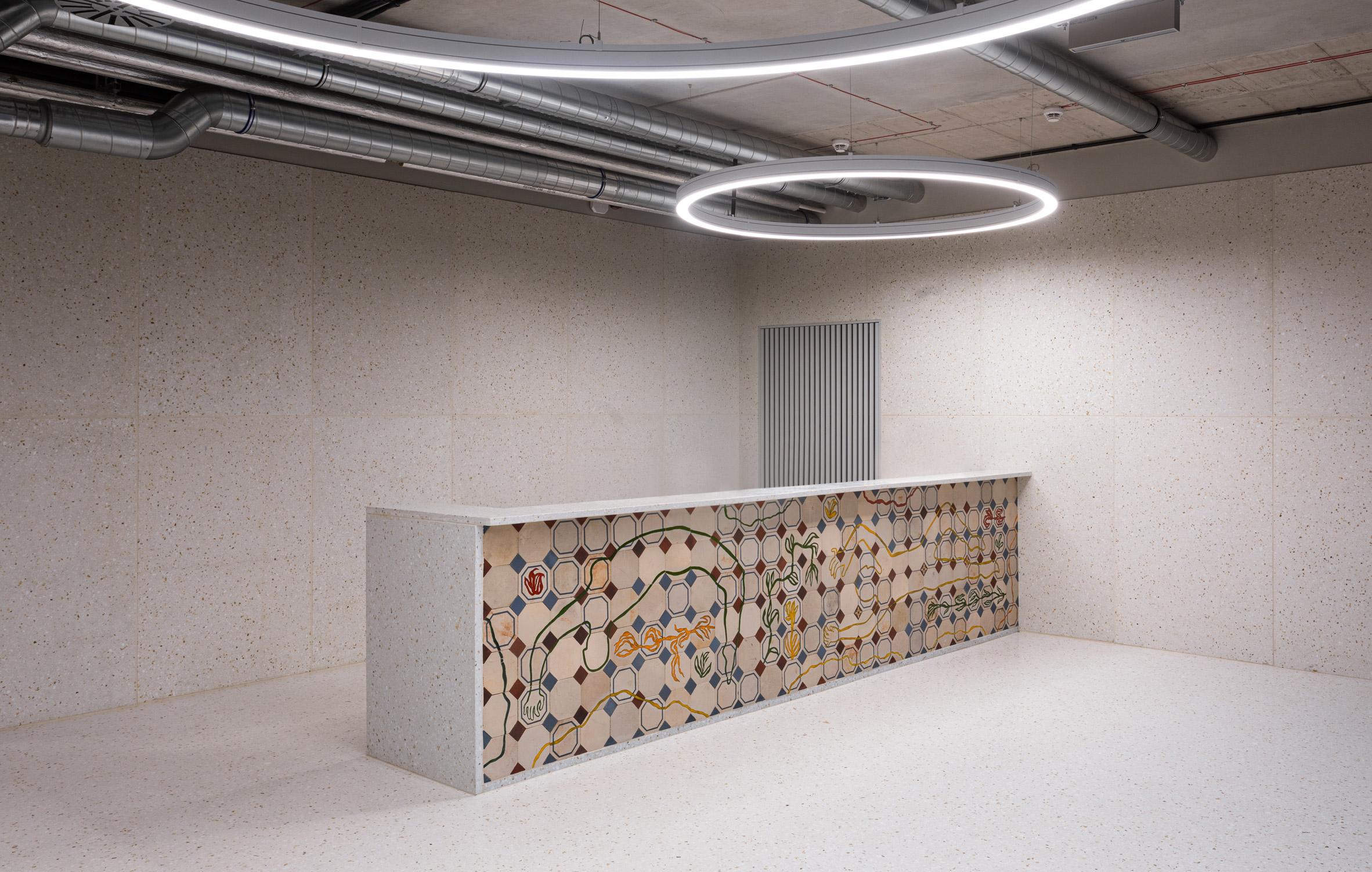 Reception desk at Concordia Design by MVRDV and Alicja Biala