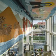 Artist Alicja Biała decorates MVRDV project in Wrocław with floor-to-ceiling murals