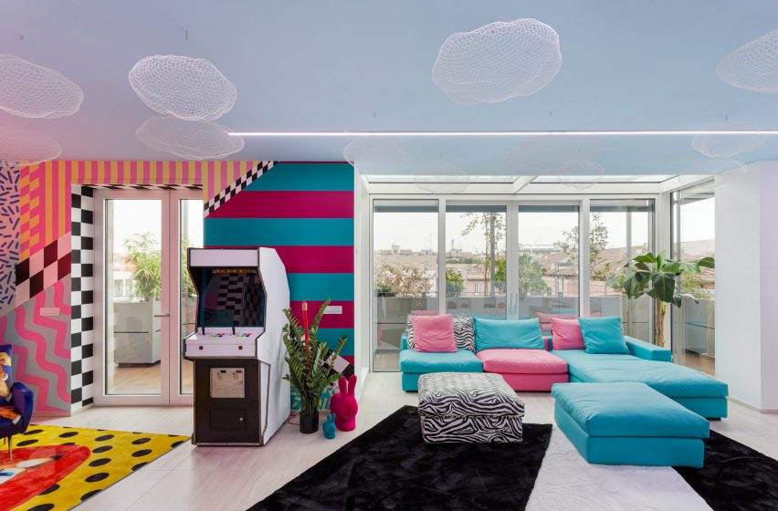 Living room of Defhouse for influencers in Milan