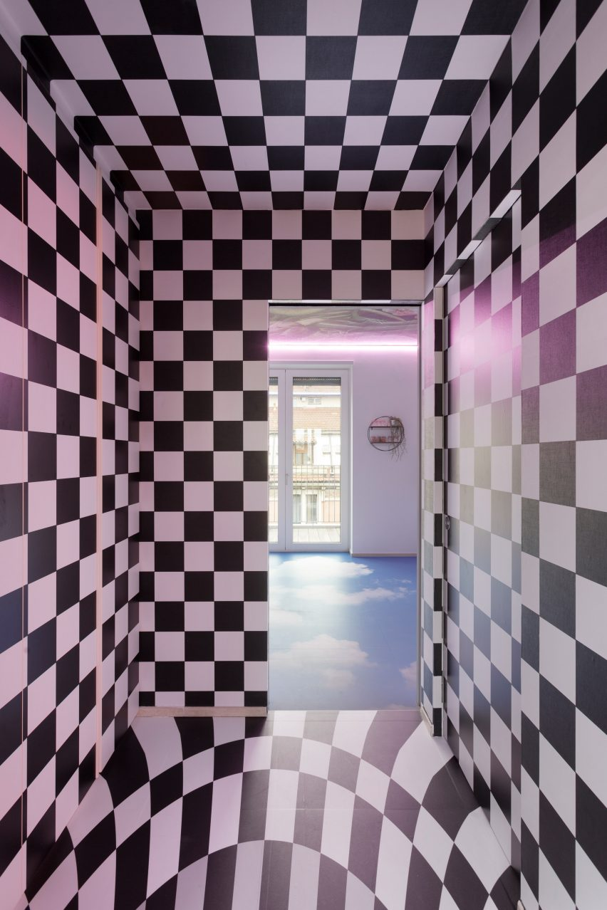 Corridors inside Defhouse for influencers in Milan