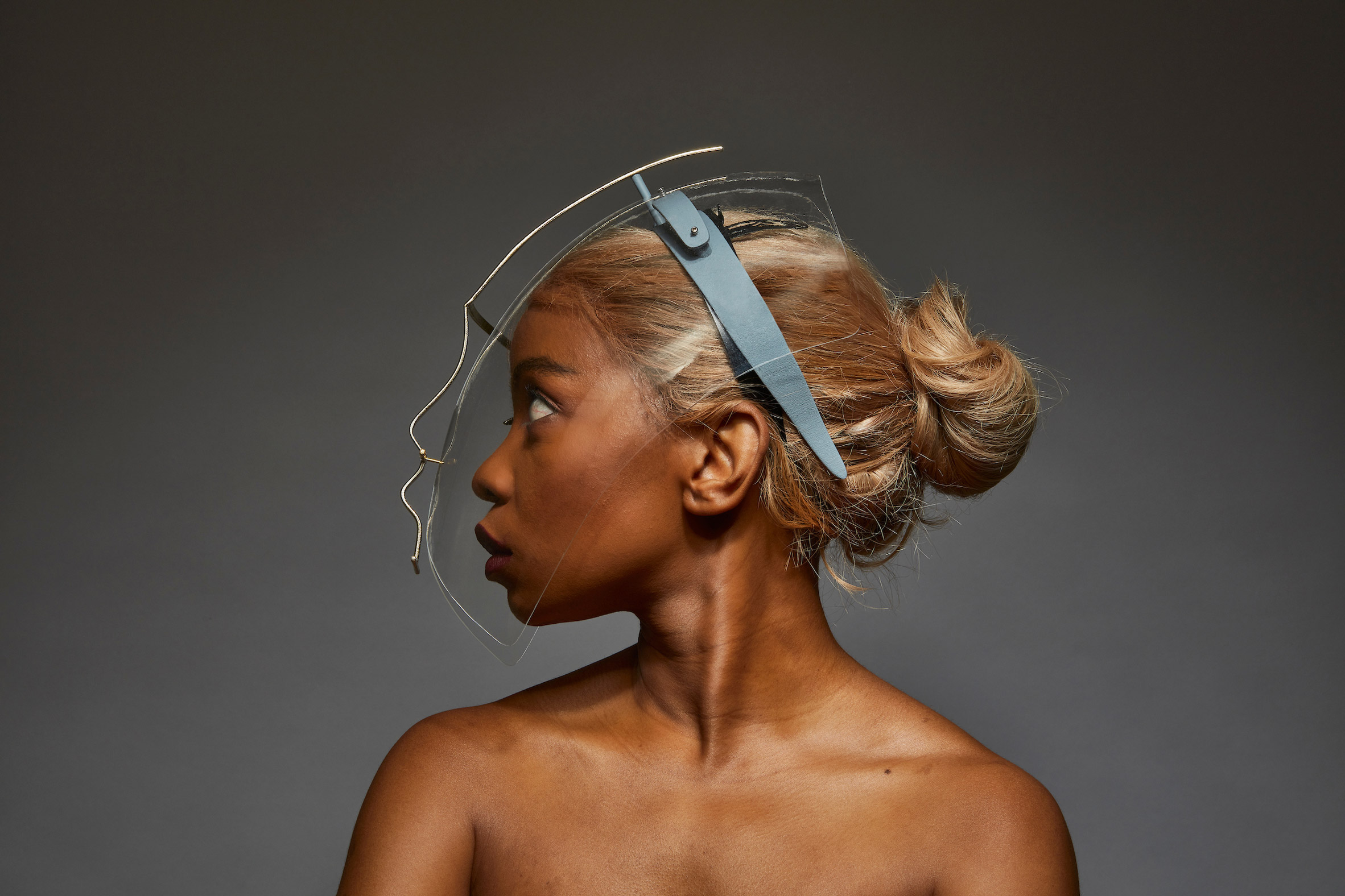 Transparent Egaro in Freedom to Move face shields by Tosin Oshinowo and Chrissa Amuah