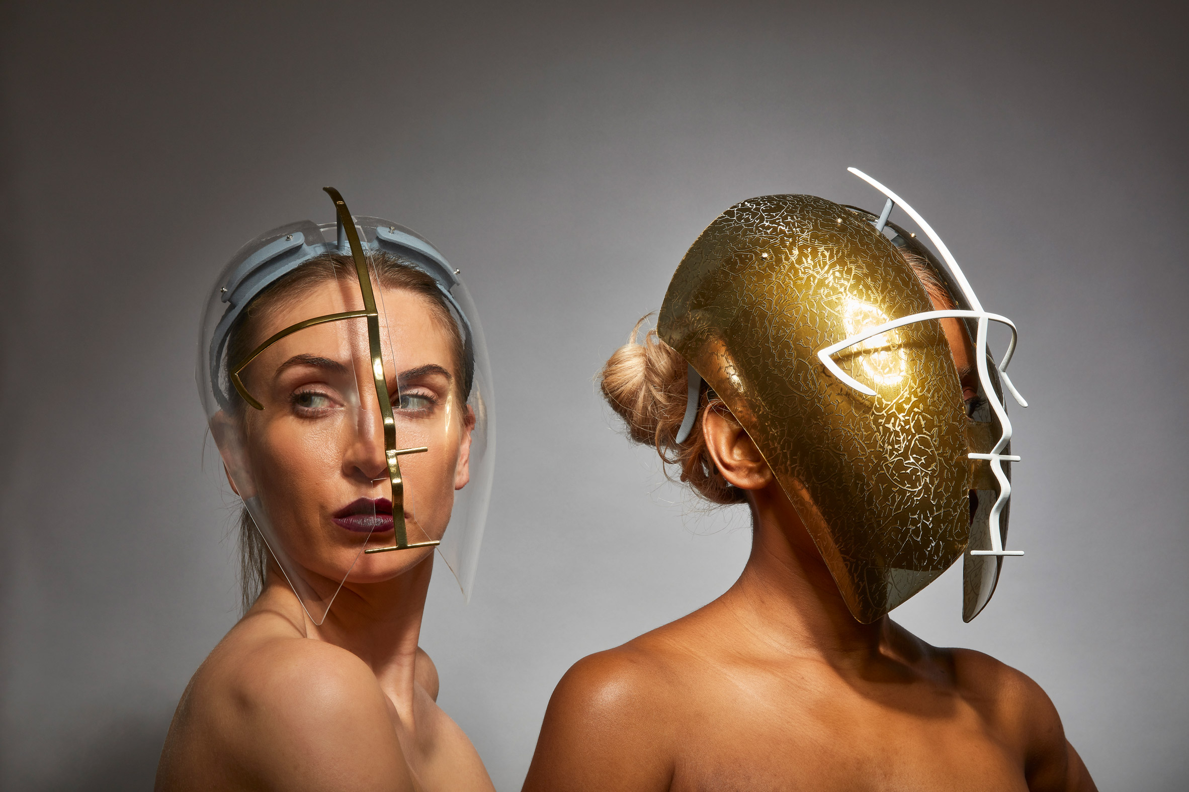 Egaro Freedom to Move face shield by Tosin Oshinowo and Chrissa Amuah