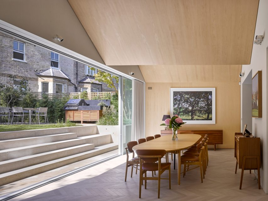 Maple-lined interior in Hampstead House by Dominic McKenzie Architects