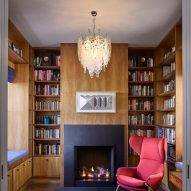 Walnut-lined library in Hampstead House by Dominic McKenzie Architects