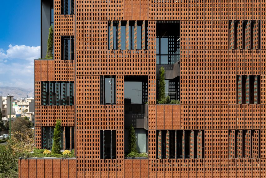 Brick facade of Sharif Office Building by Hooba Design Group