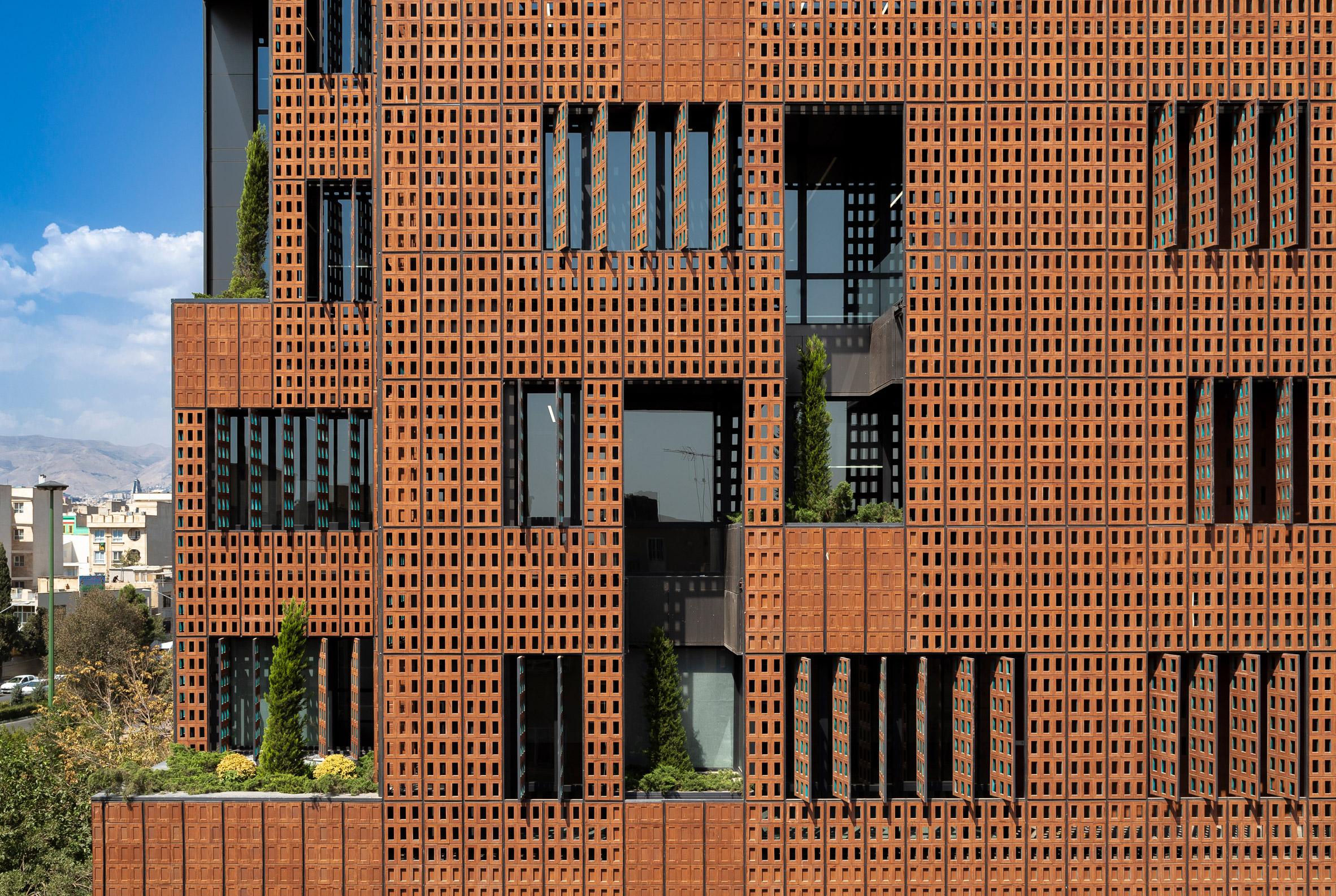 Brick facade of Sharif Office Building by Hooba Design Group