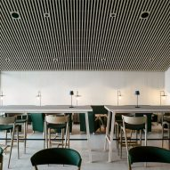 A bar area inside Hotel Milla Montis by Peter Pichler Architecture