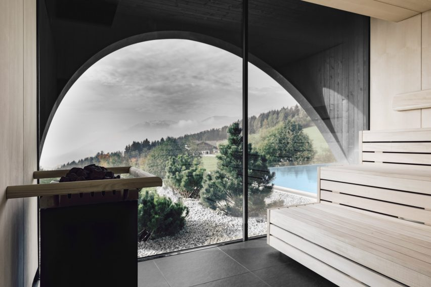 A spa inside Hotel Milla Montis by Peter Pichler Architecture