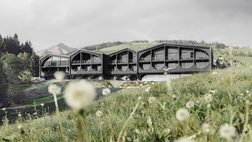 The exterior of Hotel Milla Montis by Peter Pichler Architecture