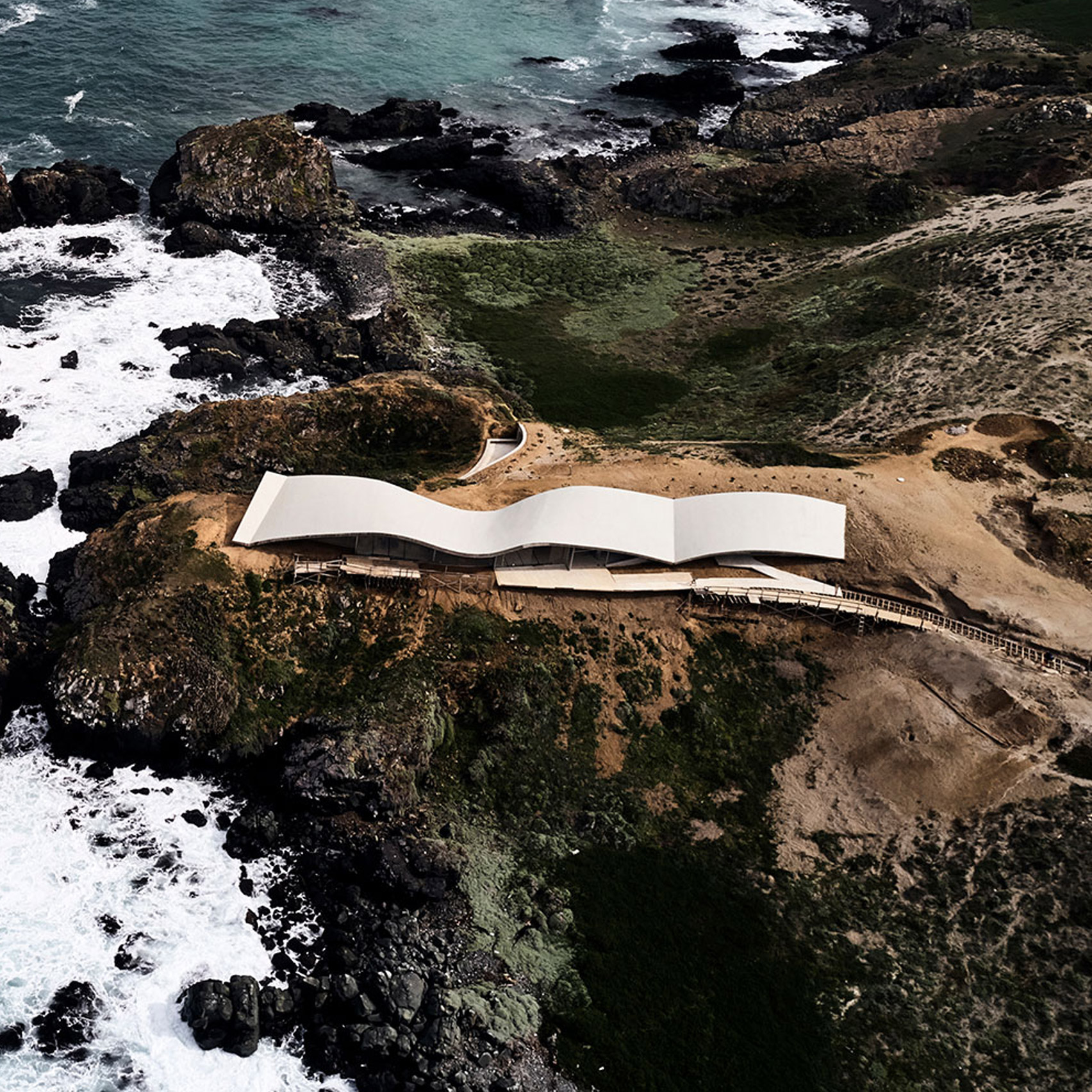 An aerial view of House in Los Vilos, Chile, by Office of Ryue Nishizawa