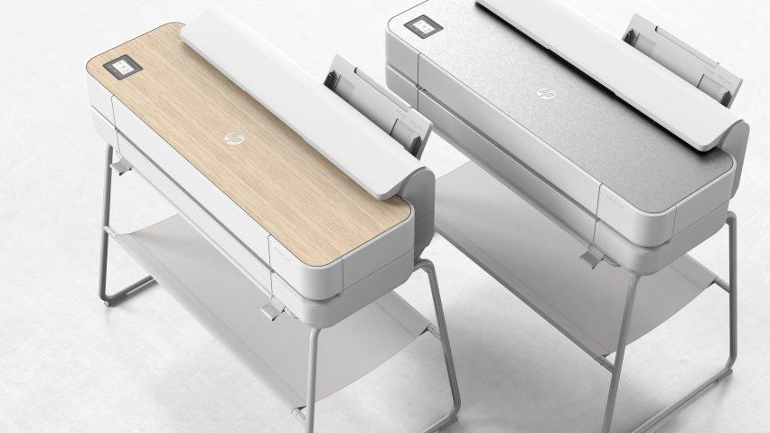 Render of HP Designjet Studio Printer with wooden or steel top