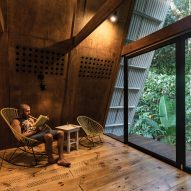 The living area inside of the Huaira cabin by Diana Salvador and Javier Mera in Ecuador