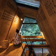The bedroom of the Huaira cabin by Diana Salvador and Javier Mera in Ecuador