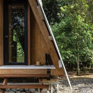 The entrance of the Huaira cabin by Diana Salvador and Javier Mera in Ecuador
