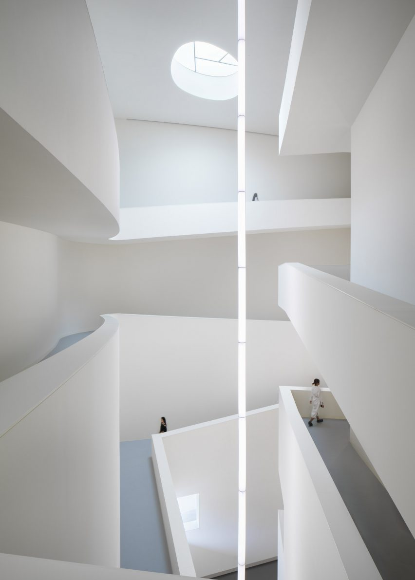 The central void inside Huamao Museum of Art and Education by Álvaro Siza and Carlos Castanheira