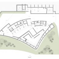First floor plan of Huamao Museum of Art and Education by Álvaro Siza and Carlos Castanheira