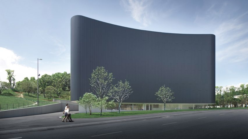 The front facade of the Humao Museum of Art and Education by Álvaro Siza and Carlos Castanheira