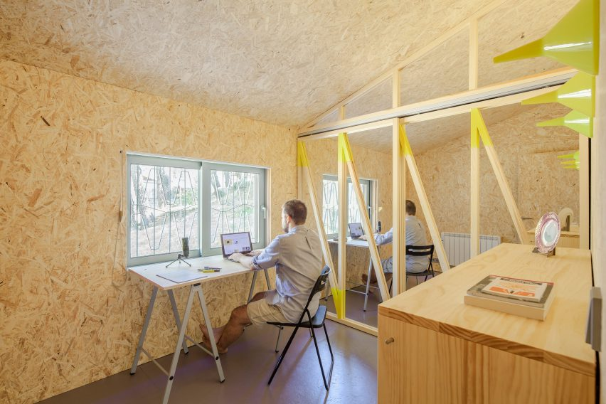Timber-lined home office
