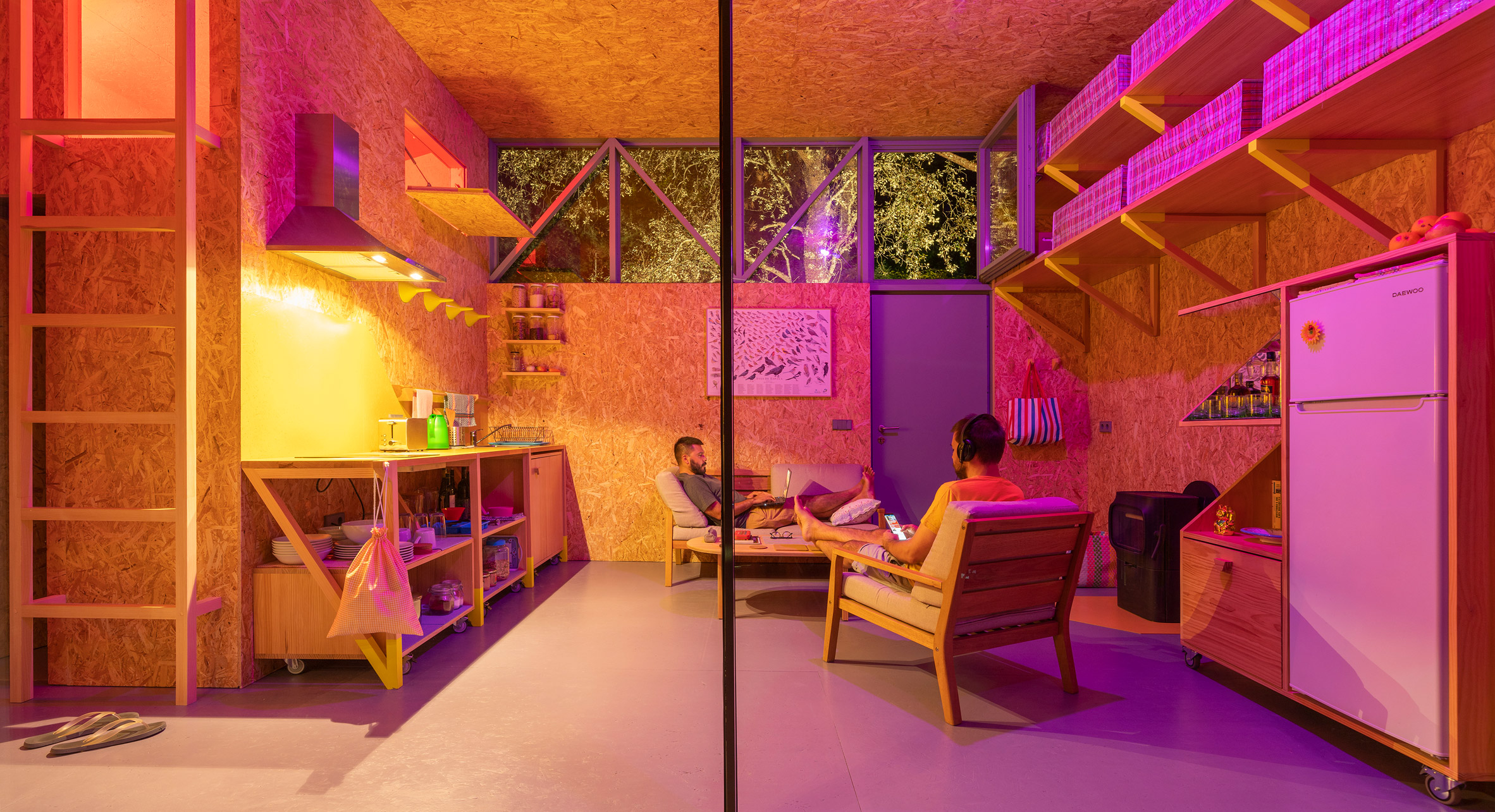 OSB living room in timber cabin