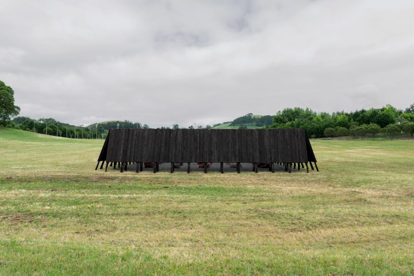 The charred exterior of the Inbetween Pavilion by Pontoatelier