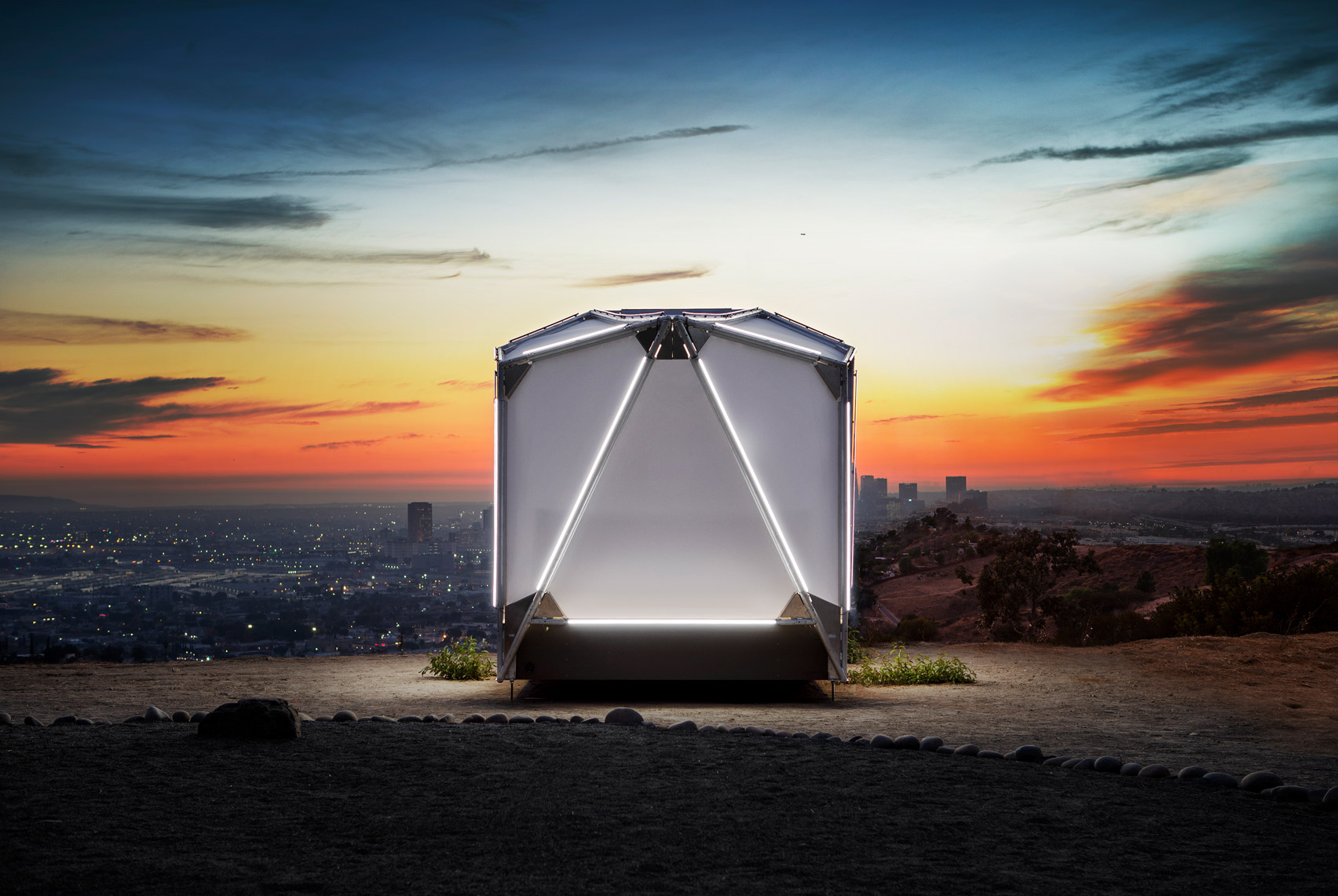 Night view of Jupe prefabricated camping shelter