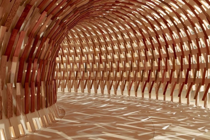 Interior of Botanical Pavilion by Kengo Kuma and Geoff Nees