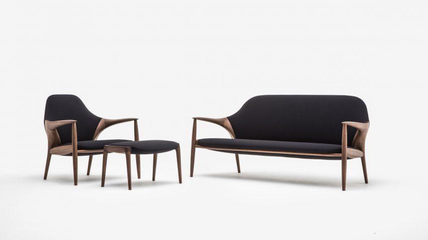 Black Kunst sofa by Inoda + Sveje for Karimoku
