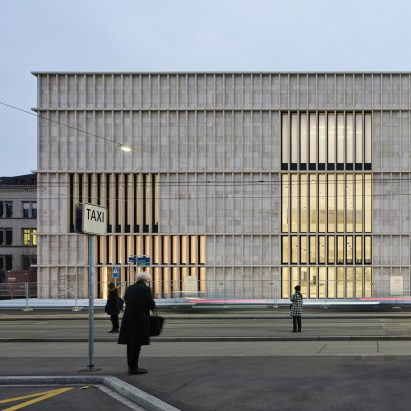 The limestone exterior of the Kunsthaus Zurich museum extension by David Chipperfield