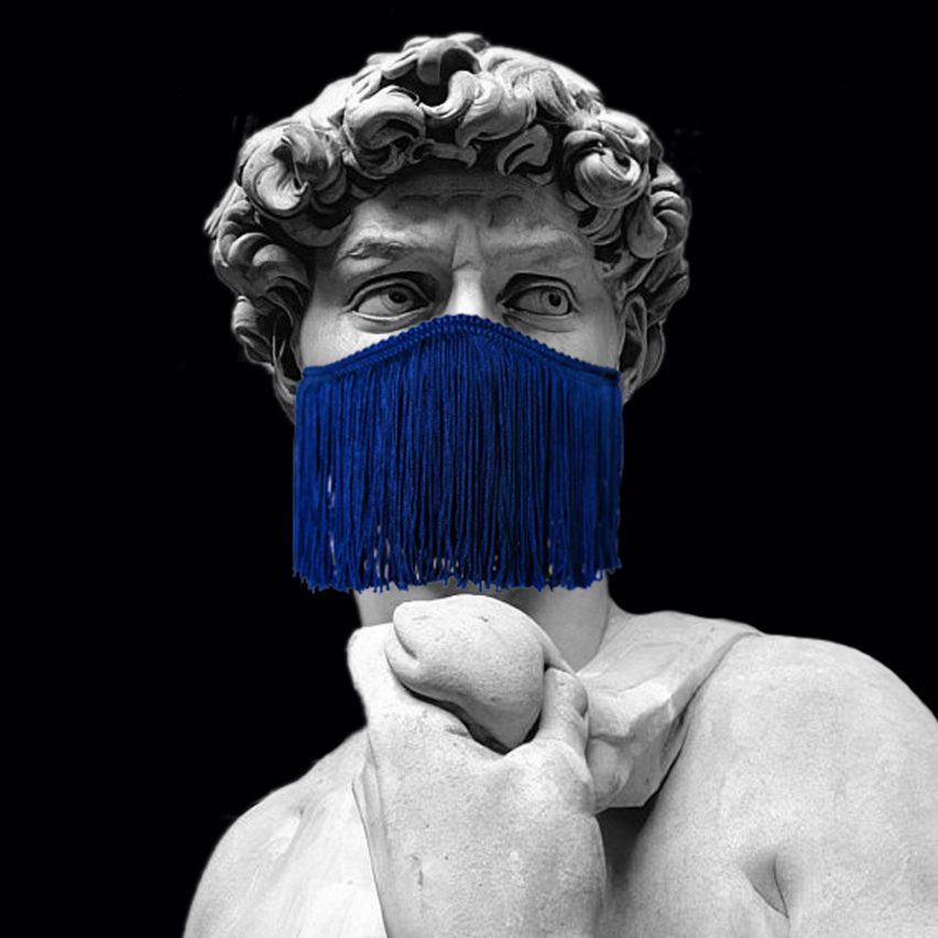 Michelangelo David wearing Le Freak face mask by Droog