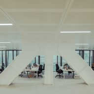 An office inside of the Le Monde Headquarters in Paris by Snøhetta