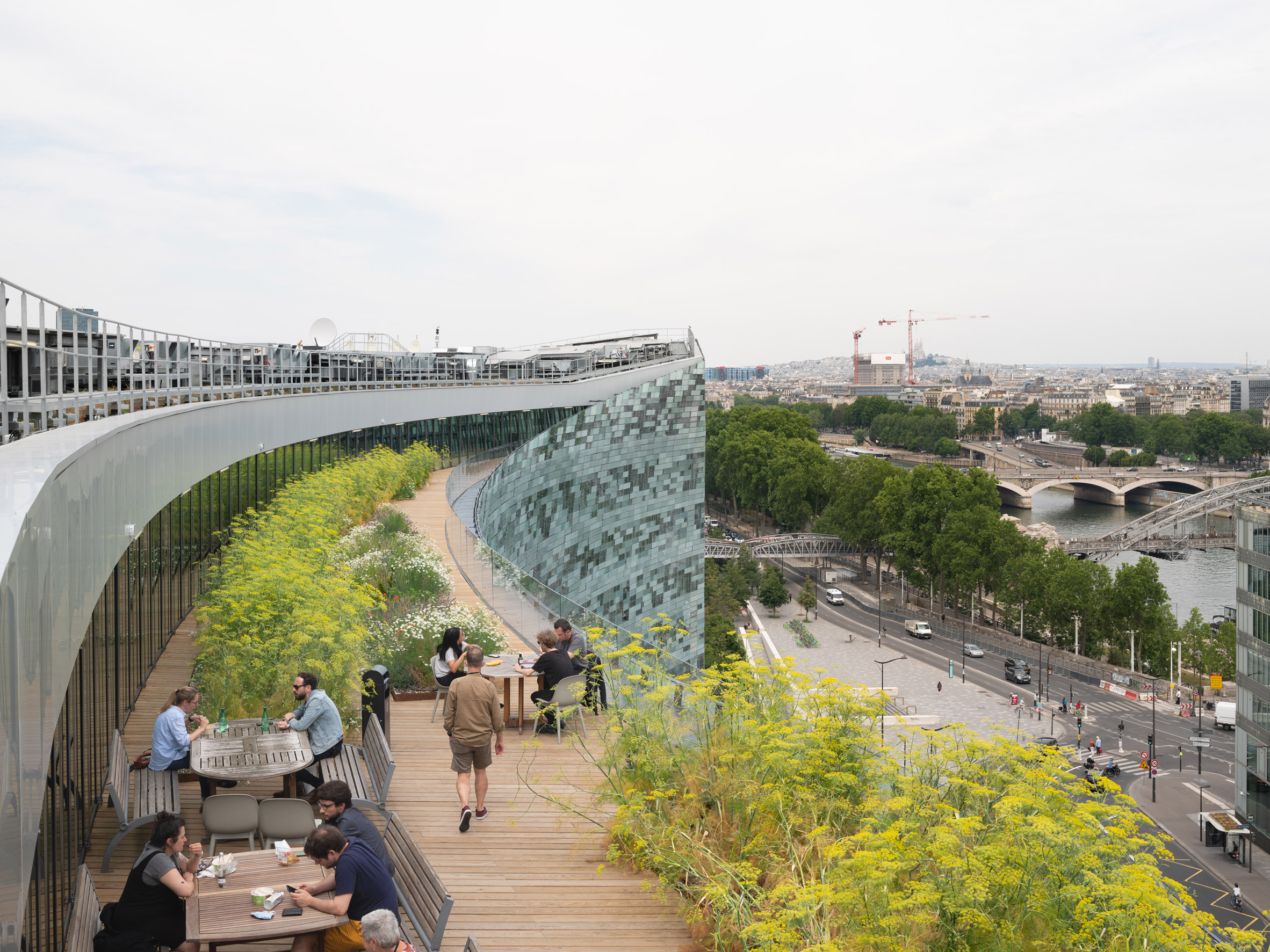 The roof terrace of the Le Monde Headquarters in Paris by Snøhetta