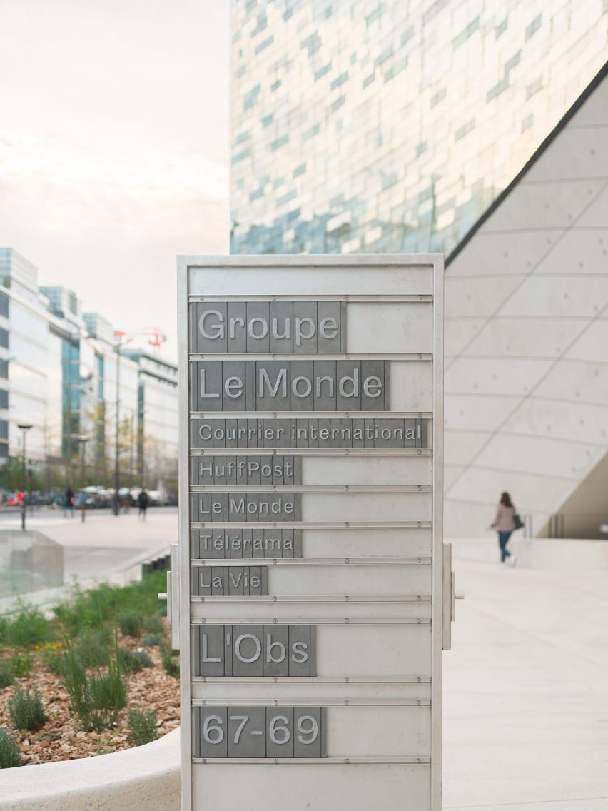 A sign outside the Le Monde Headquarters in Paris by Snøhetta