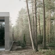 Trees flanking Loenen Pavilion by Kaan Architecten
