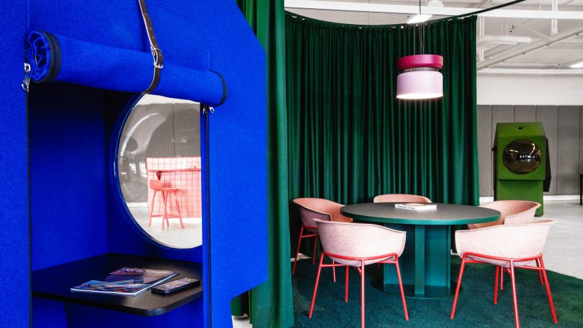 Blue work capsule and meeting room in LOQI Activity Office by Studio Aisslinger