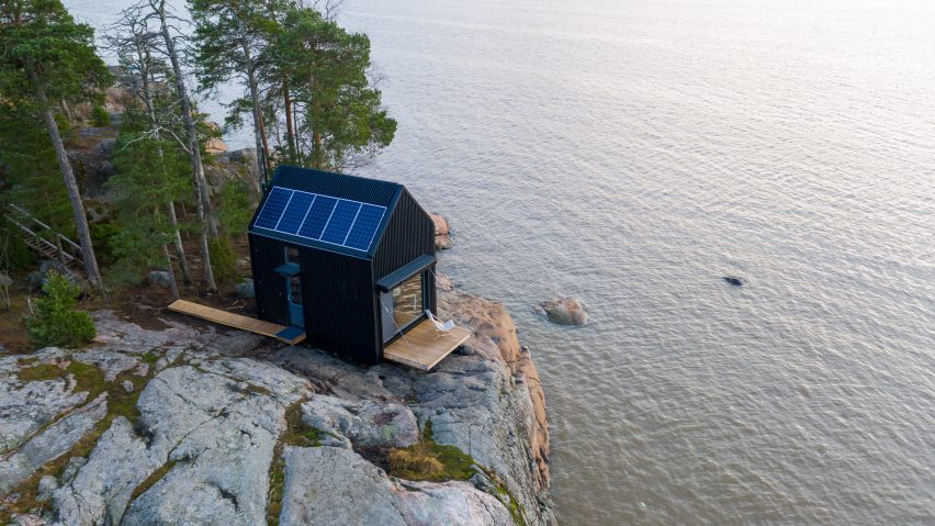 Aerial view of Majamaja, an off-grid cabin by Pekka Littow