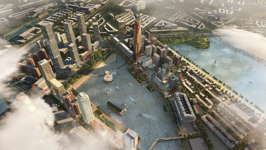 An aerial view of the Maritime Center Rotterdam by Mecanoo