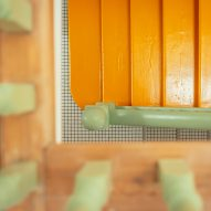 Yellow and green staircase in Mountain View by CAN Architecture