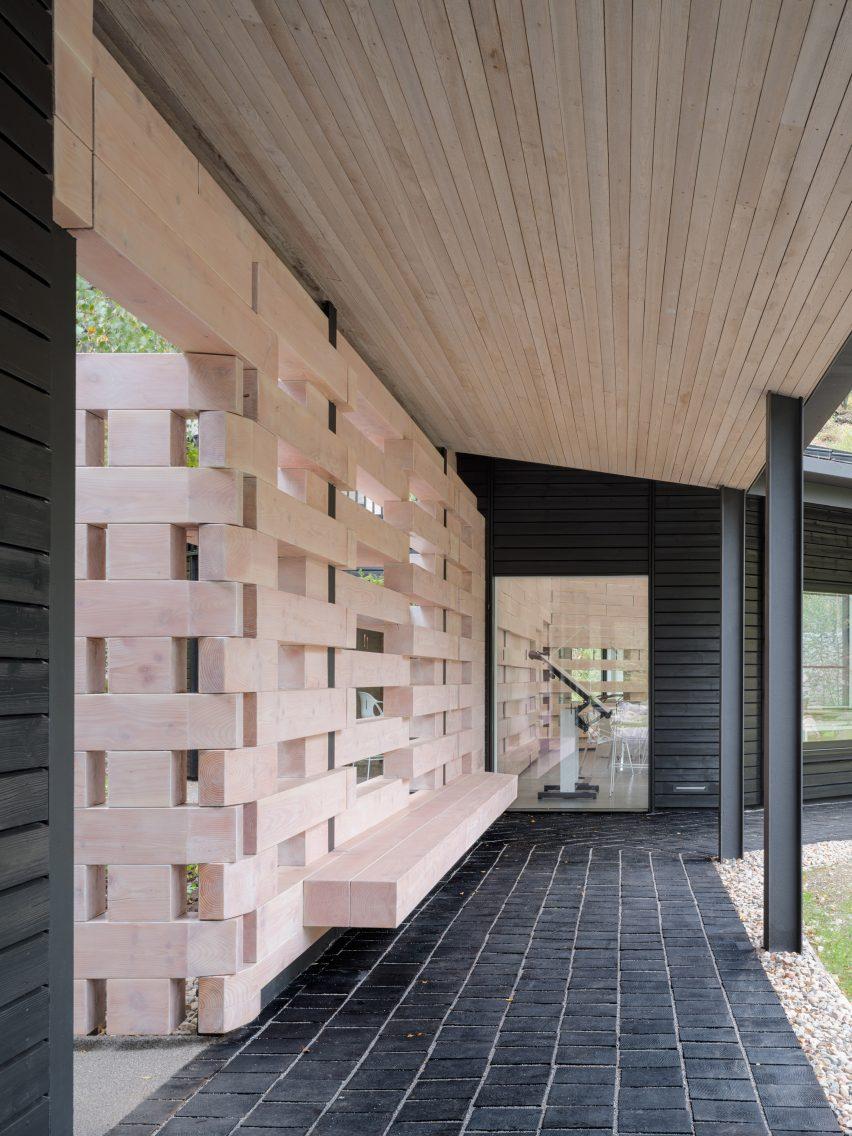 Douglas fir wall at Quarry Studios by Moxon Architects