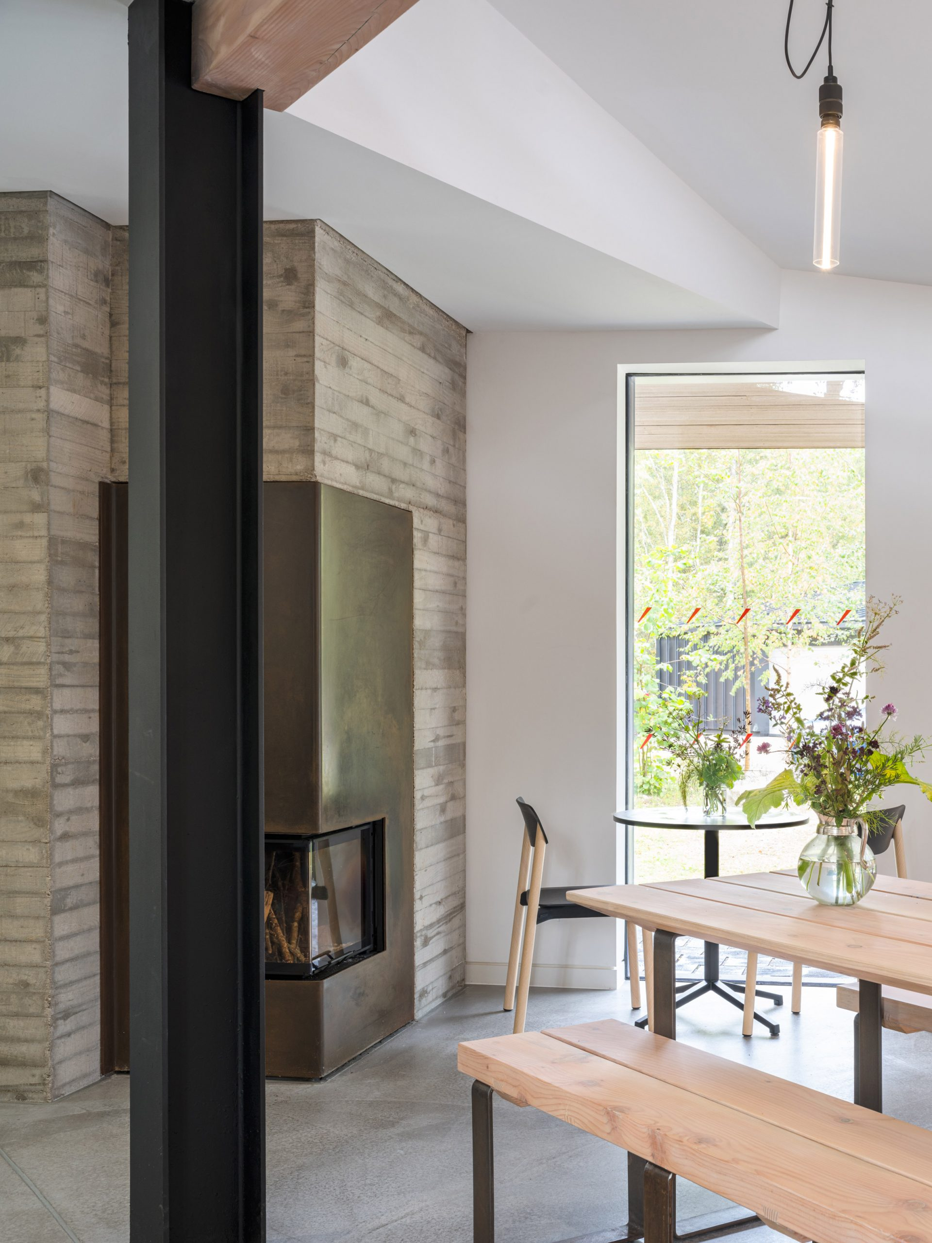 Cafe interior at Quarry Studios by Moxon Architects
