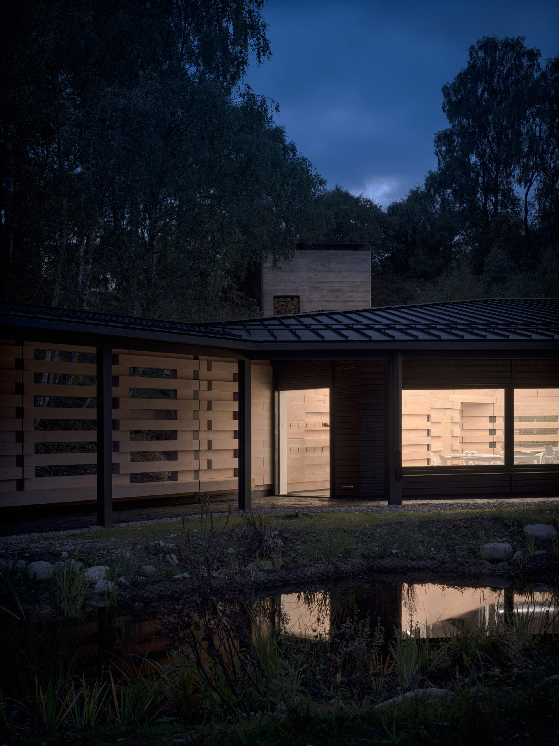 Night view of Quarry Studios by Moxon Architects