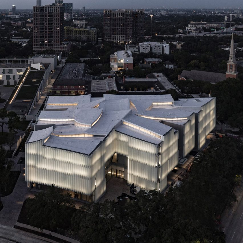 An aerial view of Nancy and Rich Kinder Building, USA, by Steven Holl Architects