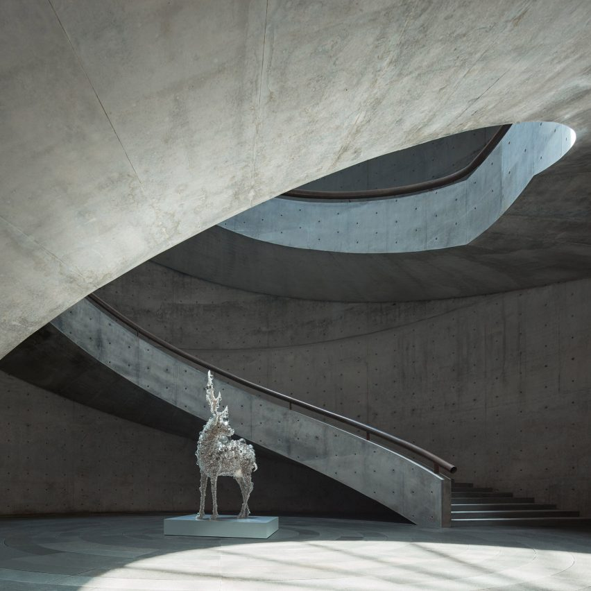 The atrium inside He Art Museum, China, by Tadao Ando
