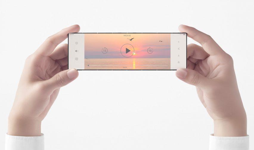 The Slide-Phone concept by Nendo for OPPO fully unfolded