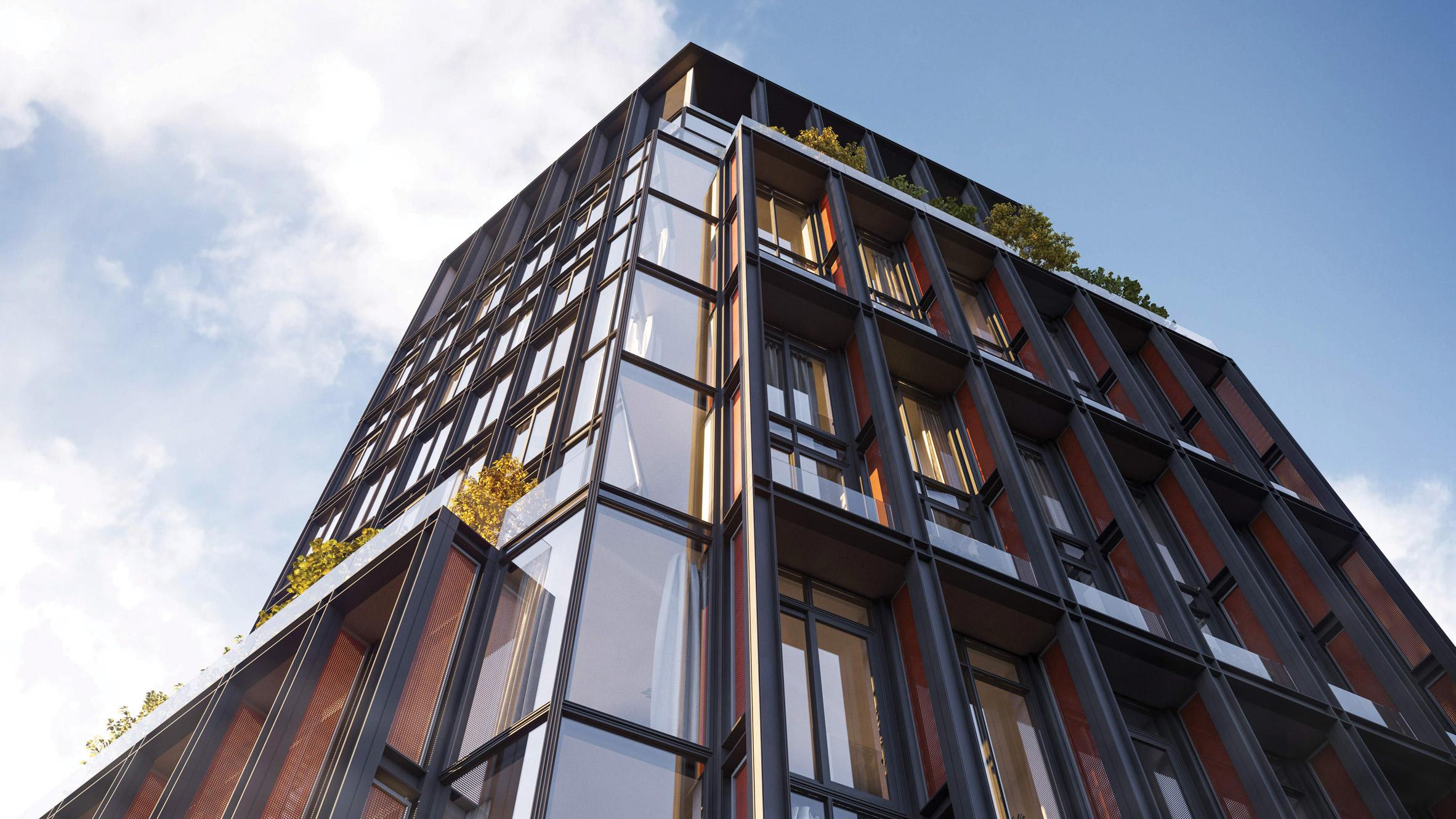 Steel and copper facade of No 33 Park Row