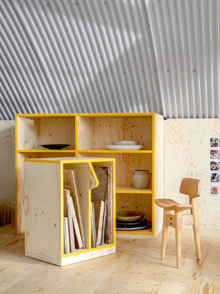 Yotam Ottolenghi's test kitchen features plywood furniture